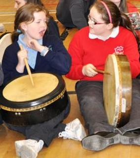 a bodhrán duet at the launch of the peace forest